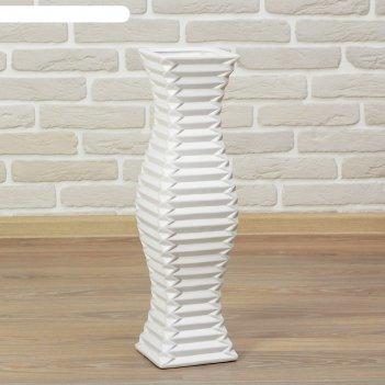 Ваза керамика напольная день ночь 60 см полосы белая