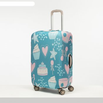 Чехол для чемодана сред 24 пироженки, 38*28*59, бирюзовый