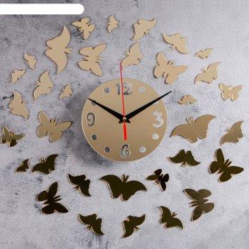 Часы-наклейка diy бабочки2 d=15 см, плавный ход, тип батарейки 1 аа