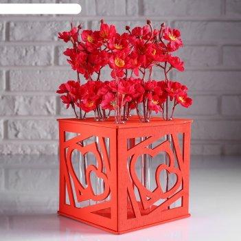 Ящик-кашпо подарочный с 9 колбами два сердца, красный