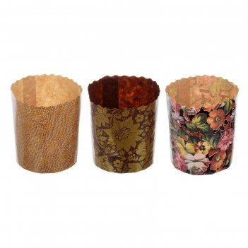 Набор бумажных форм для выпечки куличей пасхальный 3шт