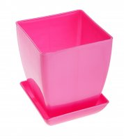 Горшок для цветов перламутр 110x110 мм, поддон, розовый