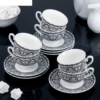 Сервиз кофейный амира, 12 предметов: 6 чашек 80 мл, 6 блюдец