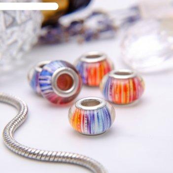 Бусина штрихи, разноцветная в серебре
