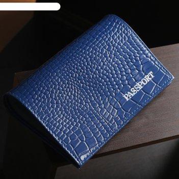 Обложка для паспорта, тиснение фольга, крокодил, цвет синий