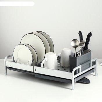 Сушилка для посуды с поддоном, раздвижная 31х28,5х12 см