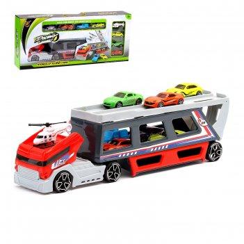 Машина-трансформер трейлер с 7 машинами и вертолетом