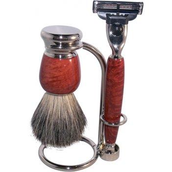 Бритвенный набор s.quire, красно-коричневый: станок, рукоять из латуни с н
