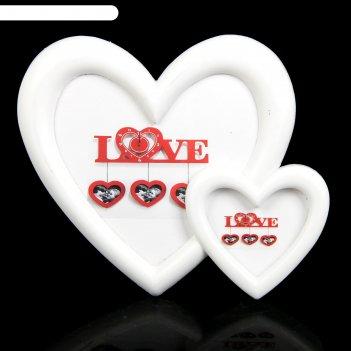 Рамка д/фото пластик 2 сердца белая 10*12, 6*8 см