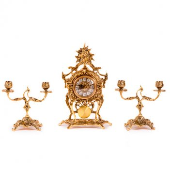 Часы каминные с маятником и канделябрами на 2 свечи, набор из 3 предм.