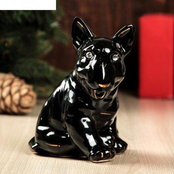 Статуэтка собака бультерьер глянец чёрный