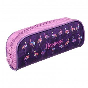 Пенал мягкий 1 отд. объем 80*210*40 пмо 21-20 дев цветные фламинго 62669