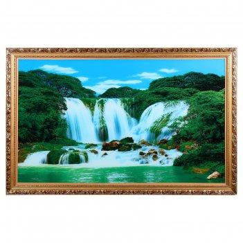 Световая картина горный водопад со звуком пения птиц и водопада