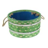 Шайка с пластиковой вставкой 6 л, крашеная резная, цвет еловая зелень