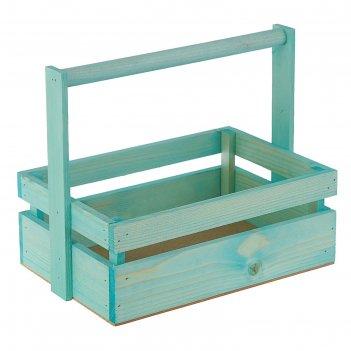 Ящик из массива сосны с ручкой 30 x 21 x 12 см, бирюзовый