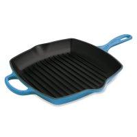 Сковорода - гриль, размер: 26 х 26 см, материал: чугун, цвет: синий, le cr
