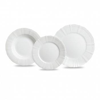 Сервиз обеденный на 4 персоны, 12 предметов, материал: фарфор, цвет: белый