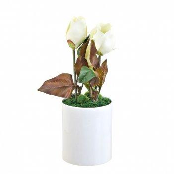 Композиция декоративная (с подсветкой) белые цветы (с эффектом