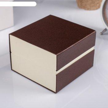 Шкатулка картон, бархат под часы 1 отделение рябь кофейная 7,5х10,5х10,5 с