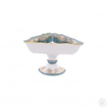 Салатник треугольный на ножке queen s crown охота зеленая 19 см