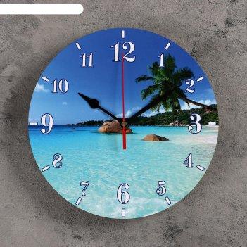 Часы настенные круглые райский остров, 24 см