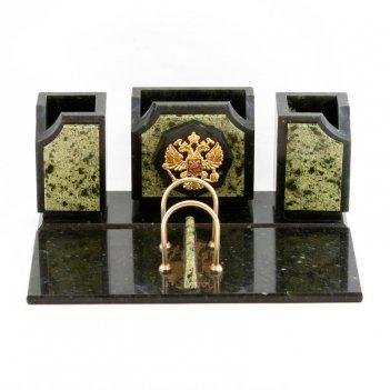 Настольный набор герб камень змеевик
