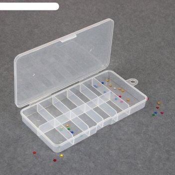 Контейнер для декора, 11 ячеек, 16 x 8 x 2 см, цвет прозрачный