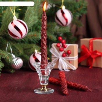 Набор свечей витых 15см, 3шт, красный, блистер