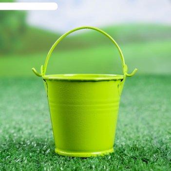 Кашпо ведерко 6*6*6 см зеленое