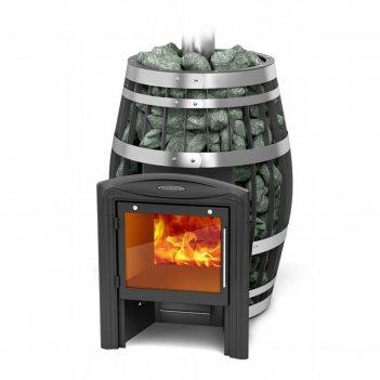 Печь для бани «саяны xxl 2015 carbon витра», закрытая каменка, теплообменн