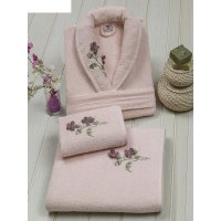 Набор женский (халат+полотенца 50х90-1 шт., 90х150-1 шт.), цвет пудра