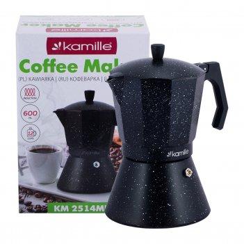 Кофеварка гейзерная kamille км-2514mr (600 мл 12 порций) из алюминия с шир