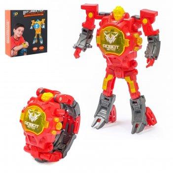 Робот-трансформер «часы», трансформируется в часы, работает от батареек, ц