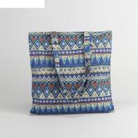 Сумка текстильная орнамент, 37*1*38, отдел на молнии, без подклада, синий