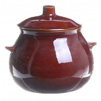 Горшок для запекания коричневый с крышкой, 0,6л