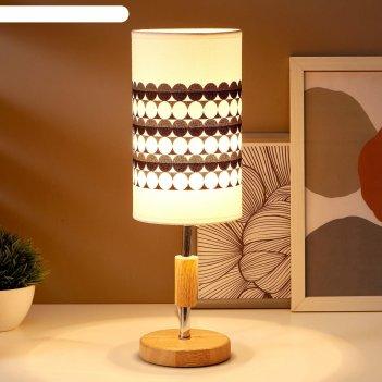Лампа настольная 16010/1 e14 40вт дерево-хром 12,5х12,5х39 см