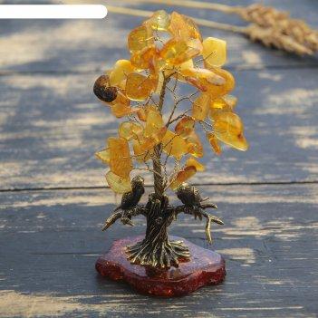 Сувенир из латуни и янтаря птички под деревом 4,5х9,5 см
