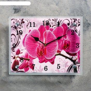 Часы-картина настенные, серия: цветы, розовые орхидеи с узором, 20х25  см,