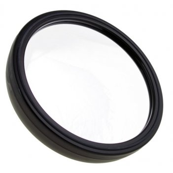 Круглое чёрное зеркало 22 см с ручкой