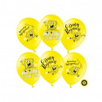 Шар латексный 12 губка боб, с днем рождения! желтый, пастель, 2 ст, набор
