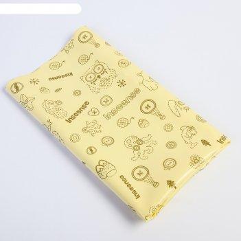 Клеенка 50х70 см., с пвх покрытием, без окантовки, цвет желтый с рисунком