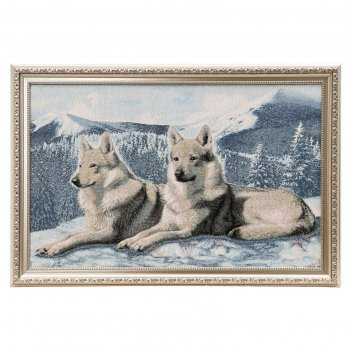 Гобеленовая картина 56х38 см волки на снегу евро