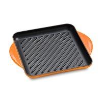 Сковорода - гриль, размер: 24 х 24 см, материал: чугун, цвет: оранжевый, l