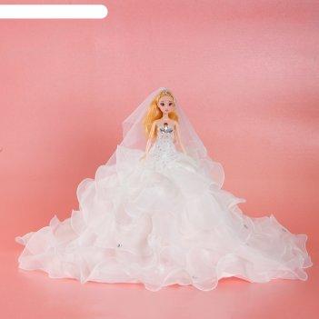 Кукла на подставке «принцесса», белое платье с воланами