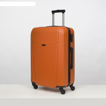 Чемодан большой 26, отдел на молнии, кодовый замок, 4 колеса, цвет оранжев