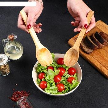 Набор деревянных ложек для салата, 22х5 см, массив черешни