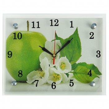 Часы настенные, серия: кухня, яблоко,микс 20х25 см