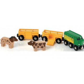Грузовой поезд с животными brio