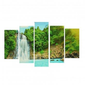 Модульная картина на подрамнике райский уголок, 2 — 25x52, 2 — 25x66,5, 1
