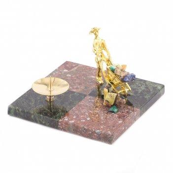 Подсвечник шахматный креноид змеевик 100х100х40 мм 300 гр.